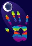 Main et lune Photographie stock libre de droits