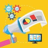 Main et mégaphone connexes avec le marketing numérique Photo libre de droits