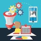 Main et mégaphone connexes avec le marketing numérique Image stock