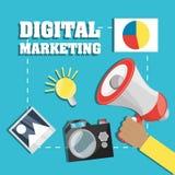 Main et mégaphone connexes avec le marketing numérique Image libre de droits