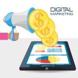 Main et mégaphone connexes avec le marketing numérique Images stock