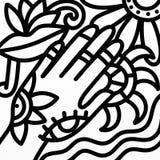 Main et oeil abstrait en noir et blanc illustration libre de droits