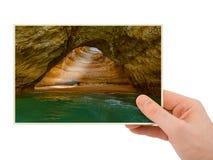 Main et plage près de Lagos - Algarve Portugal ma photo Images libres de droits