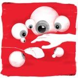 Main et souris sous des globes oculaires Photographie stock libre de droits