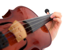 Main et violon Photo stock