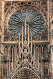 Main etrance and portal view of Cathedrale Notre-Dame de Strasbourg Stock Images