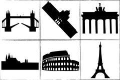 Main European landmarks. Main landmarks and monuments of Europe Stock Photo