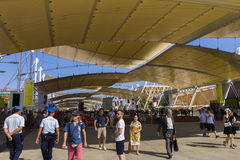 Main EXPO street with many visitors and pavilions on the sides on the Milan EXPO 2015 Royalty Free Stock Image