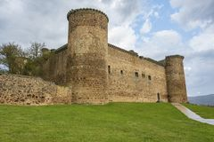 Main facade of the castle of the town of El Barco. Castilla la Mancha. Spain. Main facade of the castle of the town of El Barco or Valdecorneja castle built in Royalty Free Stock Images