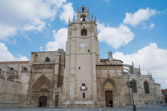 Main facade of a cathedral Stock Images