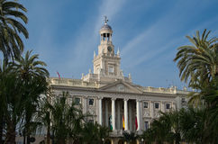 Main facade of the City Hall of Cadiz Royalty Free Stock Image