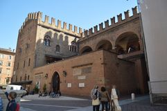 Main Facade Of Enzo Palace Medieval Building In Piazza Maggiore In Bologna. Travel, holidays, architecture. March 31, 2015. royalty free stock photo