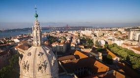 Main facade of the Estrela Basilica in Lisbon. At morning stock images