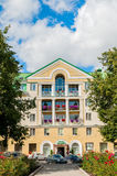 The main facade of the four stars Volkhov Hotel building in Veliky Novgorod, Russia Royalty Free Stock Photo