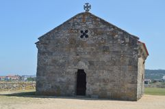 Main Facade Of The Hermitage Of Our Lady Of The Lanzada In Noalla. Nature, Architecture, History, Travel. August 19, 2014. Noalla stock photos