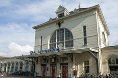 Main facade of historic train station Leeuwarden Stock Photos