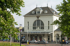 Main facade historic railway station Leeuwarden. Netherlands: historic architecture: historic railway station in the city Leeuwarden. The building was built by Royalty Free Stock Photography