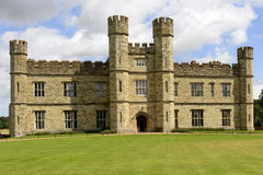 Main facade of Leeds castle, Maidstone, England. View of the facade prospecting on the main lawn at medieval castle Royalty Free Stock Photos