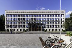Main facade of the National Assembly of Slovenia in the Republic Square, Ljubljana, Slovenia. Main facade of the National Assembly of Slovenia Lower Chamber of stock images