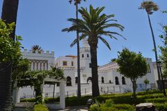Main Facade Of The Neomudejar Style Library In Tarifa. Nature, Architecture, History, Street Photography. July 10, 2014. Tarifa, stock photography