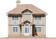 The main facade of a residential, beige and symmetrical house. 3D render Stock Image