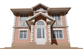 The main facade of a residential, pink and symmetrical house. 3D render Royalty Free Stock Images