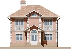 The main facade of a residential, pink and symmetrical house. 3D render Stock Image