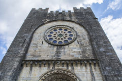 Main facade of the San Juan church, Portomarin Stock Photography