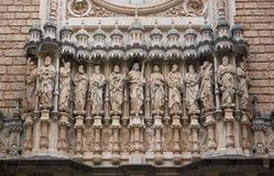 Montserrat monastery. Main facade of Santa Maria de Montserrat monastery. Catalonia, Spain royalty free stock photos