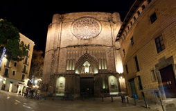 Main facade of Santa Maria del Pi at night Royalty Free Stock Photo