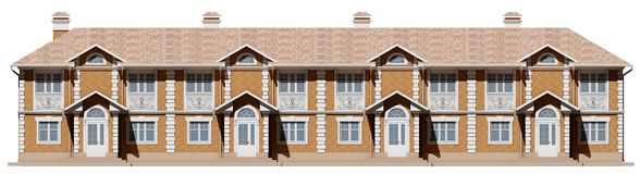 Main facade of townhouses. Street houses in 3d Royalty Free Stock Image