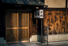 Main facade of a traditional Japanese house in the neighborhood of Gion in Kyoto, which is the neighborhood of the Geishas Stock Photo