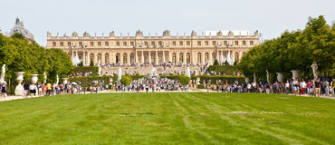 Main facade of Versailles Chateau from the grounds royalty free stock image