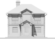 The main facade of the white cottage. 3D rendering Royalty Free Stock Photos