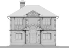 The main facade of the white cottage is symmetry. 3D rendering Royalty Free Stock Image
