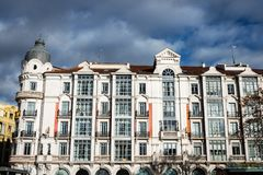 Residential building in the old town of Valladolid. Main facade and windows of a traditional building in the old town of Valladolid, Spain Stock Photos