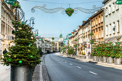 Main fashionable street of Warsaw with Christmas Royalty Free Stock Photos