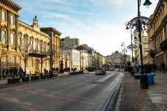 Main fashionable street of Warsaw with Christmas Stock Photos