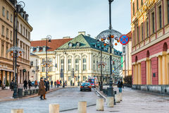 Main fashionable street of Warsaw with Christmas Stock Images