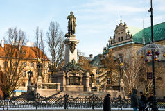 Main fashionable street of Warsaw with Christmas Royalty Free Stock Images