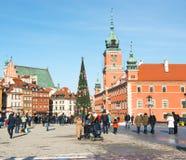 Main fashionable street of Warsaw with Christmas Stock Image