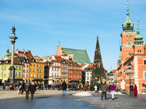 Main fashionable street of Warsaw with Christmas Royalty Free Stock Photography