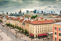 Main fashionable street of Warsaw Royalty Free Stock Photo