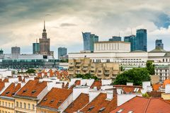Main fashionable street of Warsaw Royalty Free Stock Photos