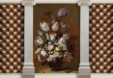 3d background, columns and Tulips in a Vase. The main features of classicism: restraint, aristocracy, sophistication. 3d wallpaper with effect of quilted leather royalty free stock photos