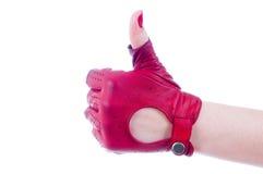 main femelle affichant des pouces vers le haut Photographie stock libre de droits