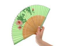 Main femelle avec le ventilateur décoré #3 Images stock