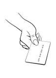 Main femelle avec par la carte de crédit images libres de droits
