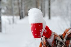 Main femelle d'hiver tenant une tasse rouge Image stock
