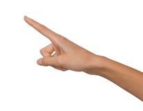 Main femelle d'isolement de femme ouverte vide en position de pointage sur un fond blanc Image libre de droits